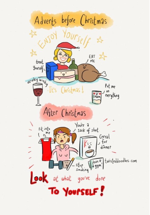 twisteddoodles:  Adverts before and after Christmas