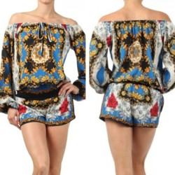 $45 Silky Long Sleeve Short Jumper. #jumper #silk #versaceinspired #fashion #style #clothes #shorts #goldchain #summer #spring #onlineshopping #shopping #ootd #ootn #californiastyle #lastyle