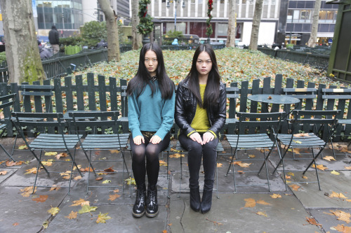 Samantha Xu on left with Jen Dau on right as seen in Bryant Park