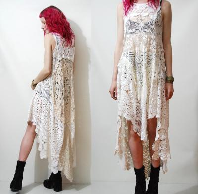 cruxandcrowvintage:  Crux and Crow handmade crochet dress