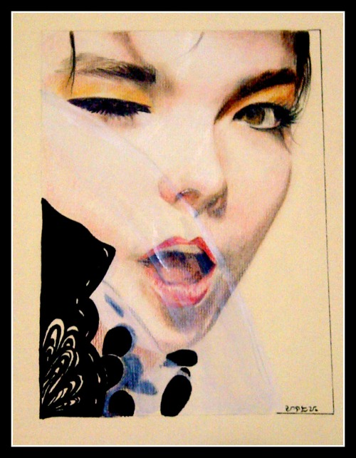 """BJORK"" Pencils on Pastel paper by AD.Besa"