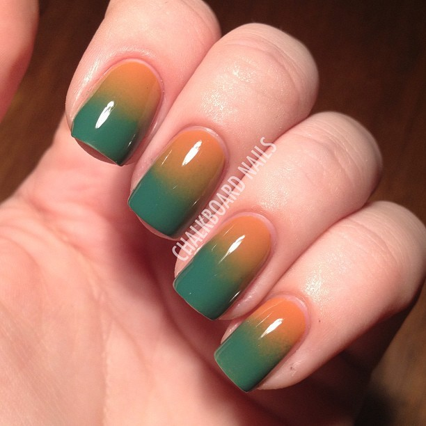 Gradients all day every day.  @chinaglazeofficial Desert Sun and @opi_products Jade is the New Black.  #opi #chinaglaze #gradient #nailart