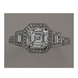 1.31 carat H SI1 art deco engagement ring with asscher center stone and trapezoid sides