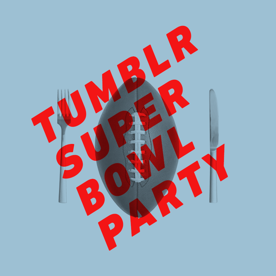 uberbowl:  Welcome to the Tumblr Super Bowl Party. All week long, we'll be reblogging the very best Super Bowl stuff that Tumblr has to offer. Tag your posts #superbowl, or even better yet — submit here. Pizza, nachos, pizzanachos, Dorito grinders, Beyonce being amazing, The Puppy Bowl, 47 layer dip, 7 layer cake bars, and totally amazing football-bedazzled nails. And some football. Follow along and reblog to your heart's content.
