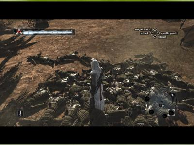 Assassin's Creed made a pile of guards… Hey look Altair your stack of humans is full!