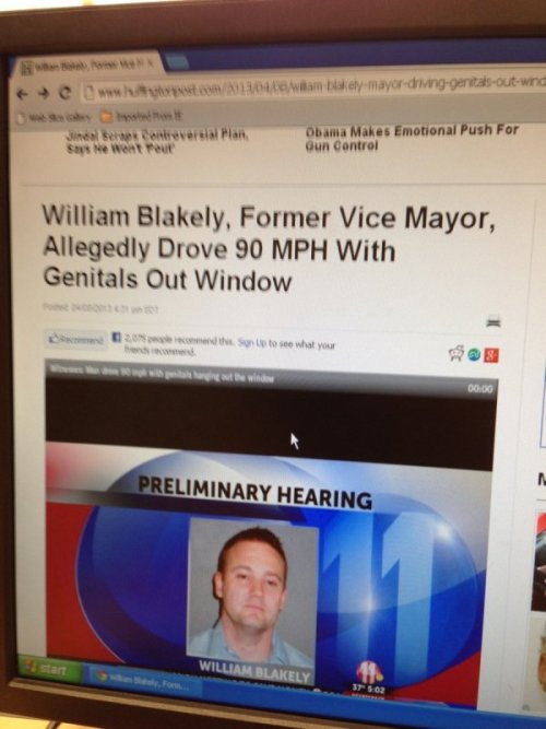 Former Vice Mayor Drives With Genitals Hanging Out the Window You have to air it out somehow.