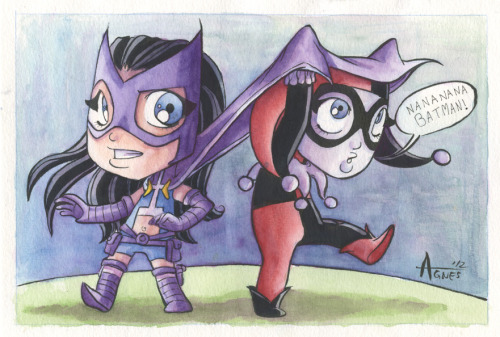 agnesgarbowska:  Nananana Batman! Huntress and Harley Quinn watercolours. Gift for a friend. :) enjoy!