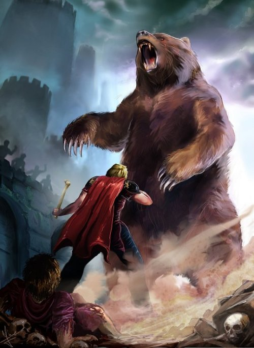 gameofthrones:  Jaime and Brienne vs the Bear, by Evolvana