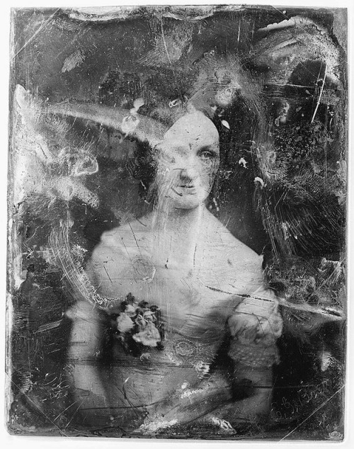 """The daguerreotypes below are from the studio of Matthew Brady, one of the most celebrated 19th century American photographers, best known for his portraits of celebrities and his documentation of the American Civil War which earned him the title of ""father of photojournalism"". The Library of Congress received the majority of the Brady daguerreotypes as a gift from the Army War College in 1920.   (via Decayed Daguerreotypes 