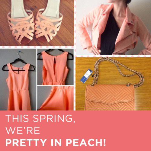 Peach, the love child of nude and orange, is the color trend that is adding a little spring to our step today. From girlish purses to flirty sundresses, we are adoring how pretty in peach many of the listings on Poshmark are looking lately, and we want to pay a little homage to this darling member of the color wheel. This spring, we think dressing for date night will be downright peachy.Shop our peach collection today:(1) Ankle strap sandals: $25 Retail $70(2) Denim moto jacket: $40 Retail $65(3) Peach Charlotte Russe sundress: $13 Retail $20(4) Rebecca Minkoff quilted affair handbag: NWT $425 Retail $454