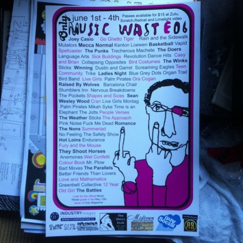 cameronr:  Throwback '06 Music Waste poster!  Ha! My band the barcelona chair's first show when it was just me and my pal Brian.
