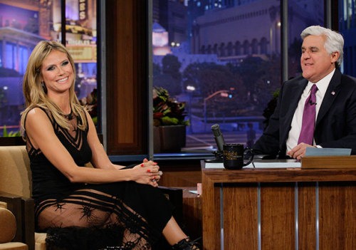 Late Night Last Night: Opa! Heidi Klum Dances on Tables for Leno