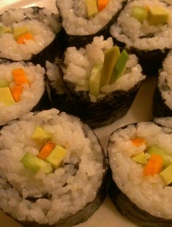 I made vegetarian sushi (kimbap) for dinner…Yummo!