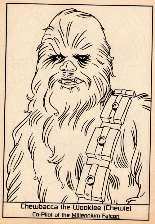 Chewbacca the Wookie (Chewie). Co-pilot of the Millennium Falcon. Tomado del libro para colorear Star Wars Heroes & Villains. My Coloring Book (Golden Books, 1997).