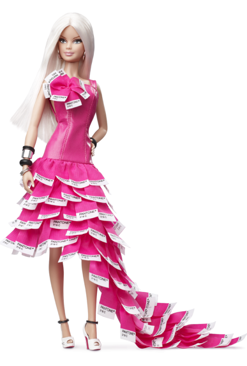 ginmpotter:  Behold Pink In PANTONE Barbie in her paint chip dress. (x)