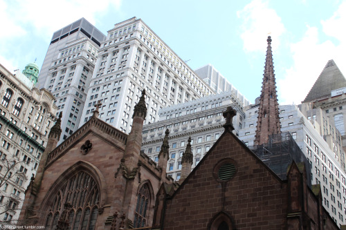 Trinity Church. Richard Upjohn. 1864. (3rd church building) Lower Manhattan. New York City. http://crosscurrent.tumblr.com/