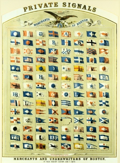 """ Private Signals — Merchants of Boston ""  ….  Chromolithograph Broadside [Circa 1855] Published by John T. Smith Co."