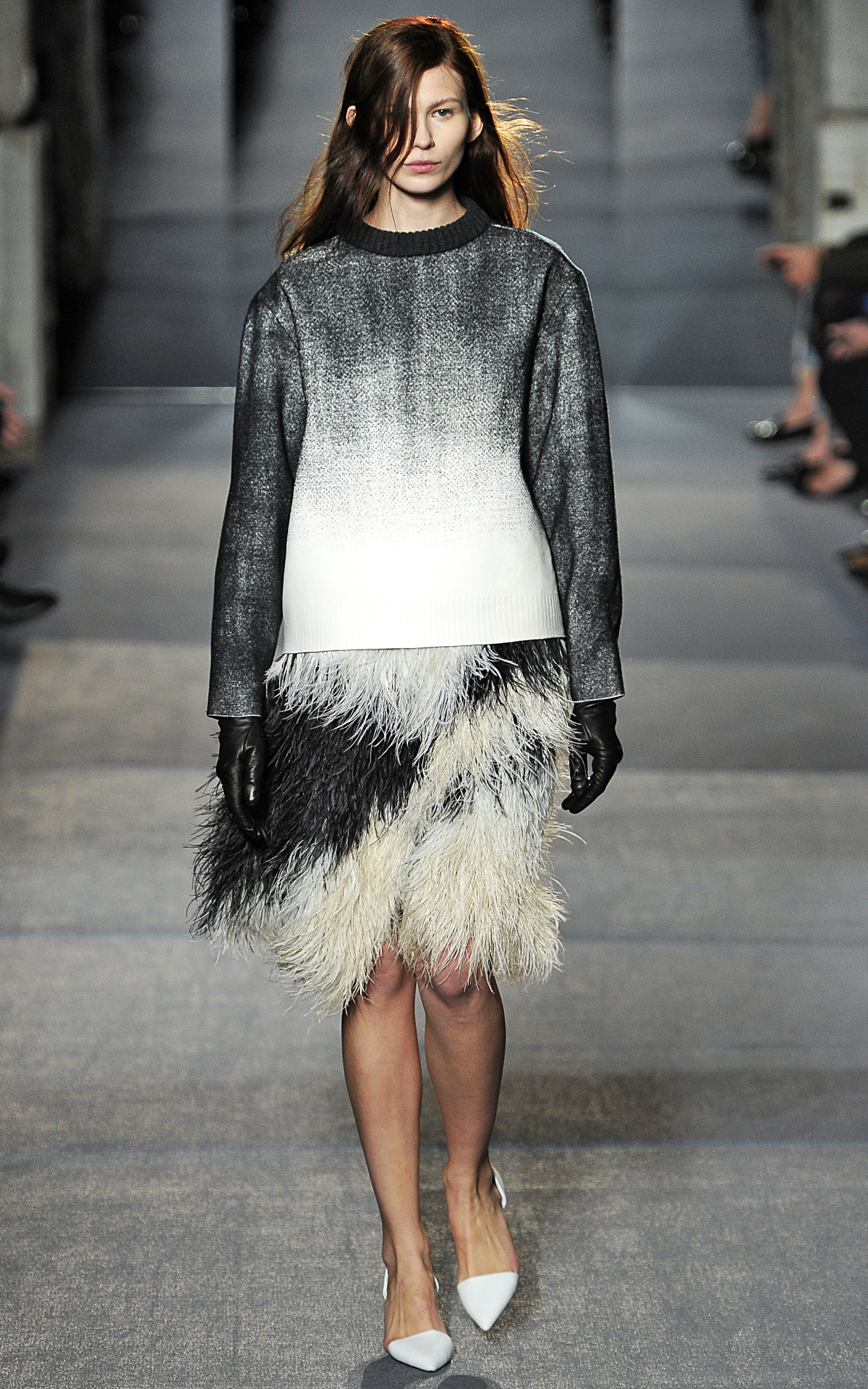 Photo by firstVIEW Can we make feathers as day-wear a thing? Proenza Schouler Fall 2013.