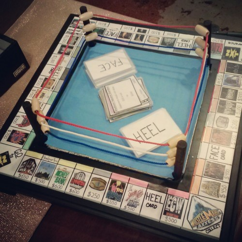 kassiedawn:  my bro in law made a wwe monopoly.. so sweet. i'm about to destroy him and my brother.