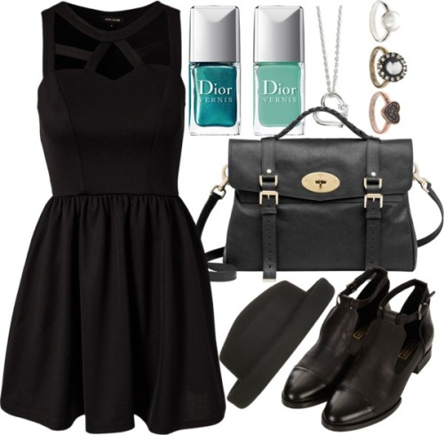 Black Skater Dress by ieleanorcalderstyle featuring a heart shaped necklace  River Island flare dress, $53 / Topshop cutout boots / Mulberry genuine leather handbag, $1,415 / Heart shaped necklace / ASOS vintage looking jewelry / Boater hat / Christian Dior turquoise nail polish