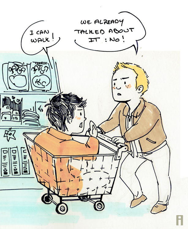 "isabelle-arne:  james—vega requested ""Dean and Cas buying groceries :D""  and this is why Dean is not letting cas out of the cart  … HE KNOWS"