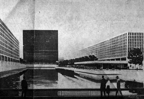I.M. Pei & Associates, Master Plan for Genesee Crossroads, Rochester, NY. 1960. This design is interesting the sense that the Miesian building in the center straddles the Genesee River.  Several elements of this proposal were lifted from another project by Pei, Kip's Bay Plaza in NYC.  This proposal was ultimately rejected, although future proposals for the site drew upon Pei's ideas.