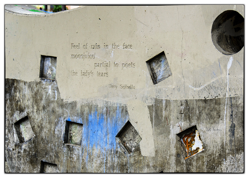 Feel of rain in the face - Venice Beach, LA  poem reads:  Feel of rain in the face moonjuice partial to poets the lady's tears -Tony Scibella - embiggen by clicking here: http://bit.ly/10Ikyf0 I took this photo on February 02, 2013 at 02:06PM