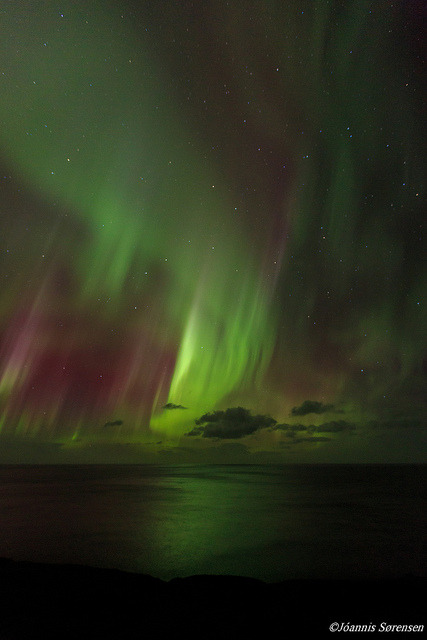 minga2glo:  Jóannis Sørensen - Faroe Islands - Aurora Borealis   Wow - can you imagine seeing such colors in your own backyard???