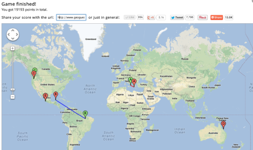 noautomobilesgo:  People are doing great and addicting things with Google Maps. This time, it's GeoGuessr! Basically, it sticks you in a random part of the world and just from street view, you have to guess where you are, the closer you are the more points you get! My first time was 19193 points in total. I confused Greece for Italy, and Mexico for Brazil (both understandable I think!) but nailed a few of the others. It's addicting hunting down signs, street names and flags and trying to figure out exactly where you are,  this is so much fun