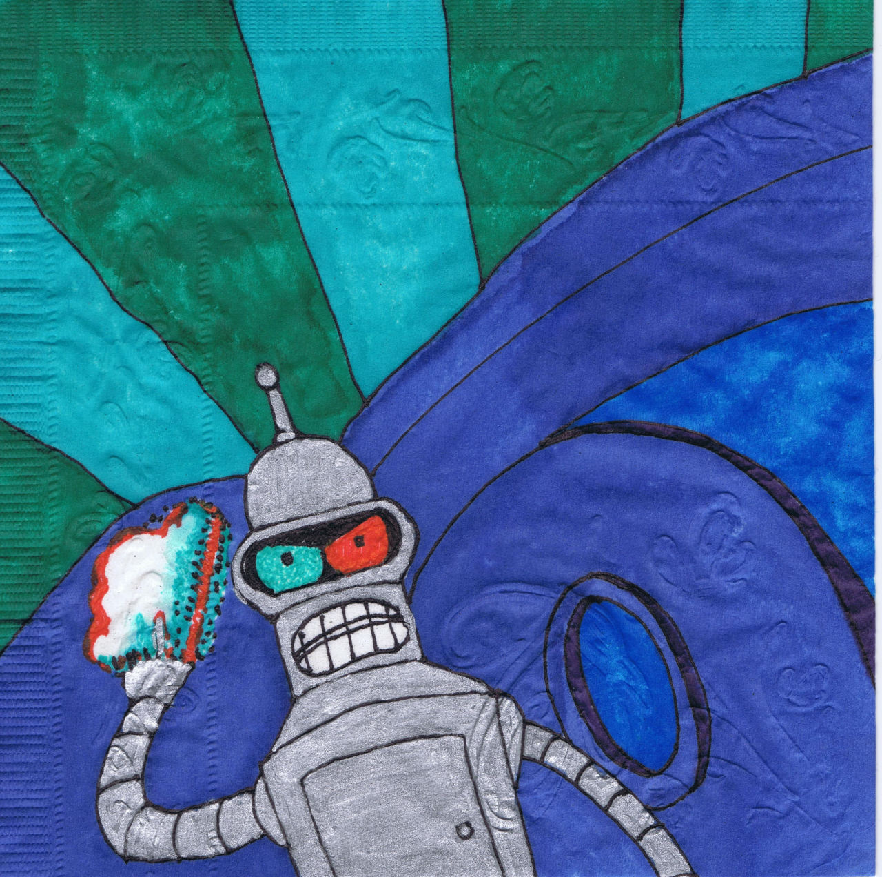 """Put on 3D glasses 5 minutes ago!""  More advice from Bender!  New napkin art."