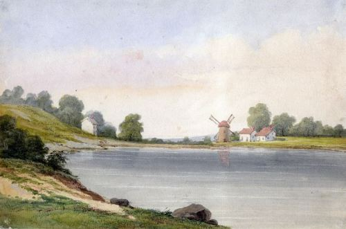 David Claypoole Johnston's Landscape With A Body Of Water And Windmills (via AMERICAN GALLERY)