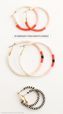 truebluemeandyou:  DIY Easy and Cheap Embroidery Thread Wrapped Hoops Tutorial by Flax & Twine for Creature Comforts here. This uses the same easy technique used on lots of the bracelets I've posted. EDIT: I often find the comments to be the best part of posts - and one particular comment on this post is really funny.