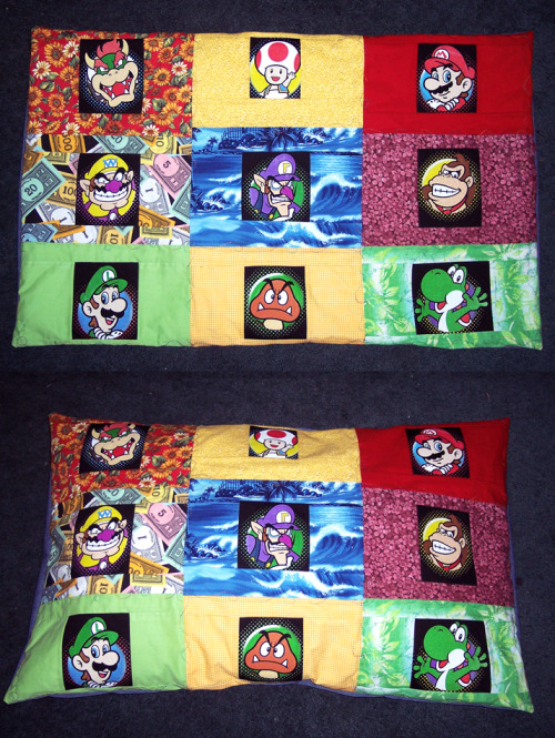Mario Party Pillowcase by *MistyTang The Spring of Quilting is getting out of hand.