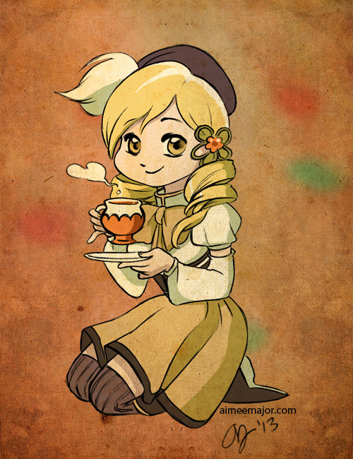 "aimeemajor:  Fanart of Mami from Puella Magi Madoka Magica I wanted to do a birthday gift art for my friend Jason. He said Mami from Puella Magi Madoka Magica was his favorite. Added bonus is that a bunch of my other friends love Puella Magi Madoka Magica and Mami, too! (She is pretty cool, right?) I enjoyed watching the series recently. I used my iphone to take a photo of the black and white sketch, brought it into Photoshop and then colored it using my laptop's trackpad (like a boss).  So please forgive my simple coloring. This is part of my, doing a drawing every day stint! You can keep up with them by ""liking"" my Facebook page. I also post most of them on Twitter.  I love this texture."