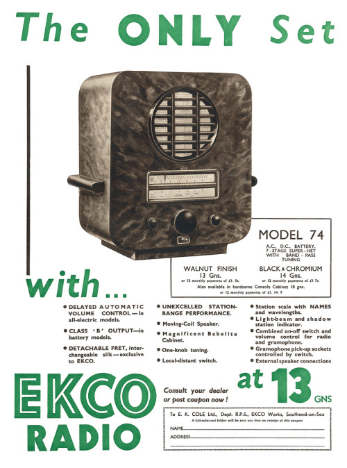 Ekco Radio advertisement. (by totallymystified)