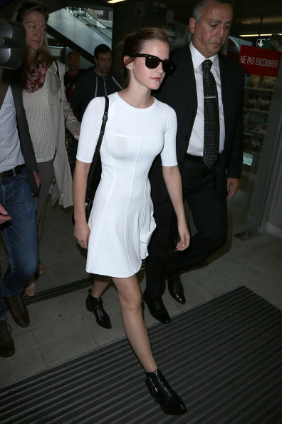 Emma Watson wore the A.L.C. Shelby dress and Tabitha Simmons ankle boots while arriving at Nice Airport, France this morning to attend the Cannes Film Festival.