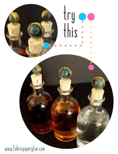 littlecraziness:  (via Fabric Paper Glue: Try This: Marble-Topped Spirit Bottles)