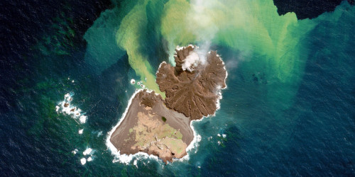 A volcanic island in the Pacific Ocean has merged with its neighbour to form one landmass,the US space agency says. The merged island lies some 1,000km (621mi) south of Tokyo, the result of eruptions on the seafloor that have spewed enough material to rise above the water line. In November 2013, a new island sprouted near to Nishino-shima, another volcanic landmass that last expanded in the 70s. Four months later, the new and old islands are one island. The newer portion of the island - which was referred to as Niijima - is now larger than the original Nishino-shima landmass. The merged island is slightly more than 1km (3,280ft) across. According to Nasa, two cones have formed around the main volcanic vents and stand more than 60m above sea level. Volcanic lava flows are reported to be most active now on the south end of the island. The new landmass lies in the Ogasawara (Bonin) Island chain.