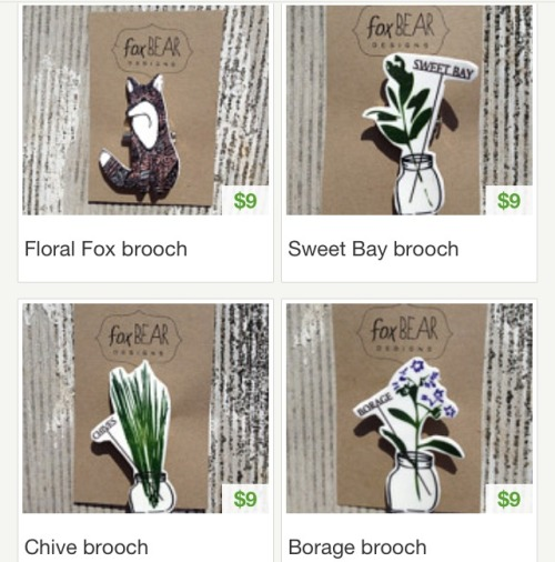 & they're here! First round of earrings and brooches are up in the shop!