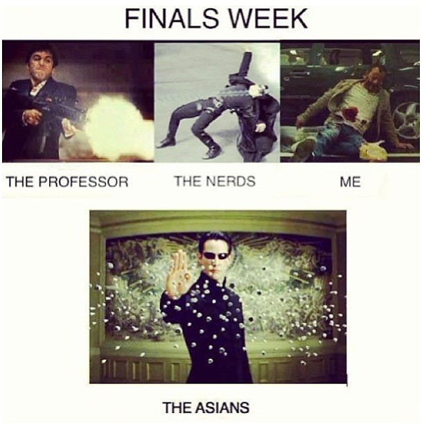 Alright, so I had a few more #finalsweek pics! LOL… This pretty much sums it up tho hehe 😜😭😂😂😂. Last one, I promise. Heheh #lifeofacollegestudent #shootmenow #scarface #neoanderson #mranderson #thematrix #nerd #mexican #asian #goodluckstudents !