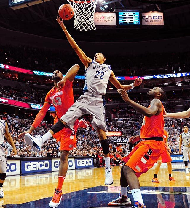 Georgetown forward Otto Porter Jr. drives to the hoop for a layup against Syracuse on March 9 at the Verizon Center in Washington, D.C. Porter wasn't able to match his 33-point outing from the last time the Hoyas played the Orange, but he helped Georgetown shut down Syracuse's offense for a 61-39 victory. (Al Tielemans/SI) GALLERY: Leading Off - Pics of the week