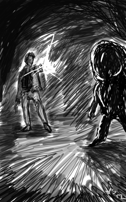 Gesture drawing of Harry Mason and a Larval Stalker from Silent Hill.