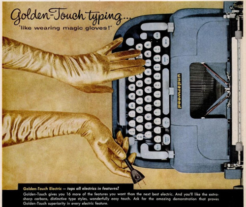 "zoomar:  Golden-Touch typing… ""like wearing magic gloves!"""
