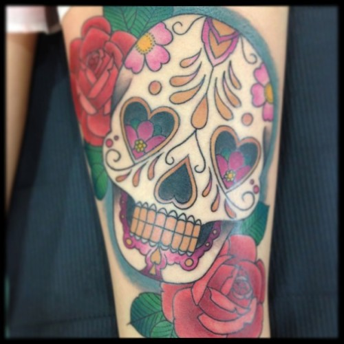 fuckyeahtattoos:  Sugar Skull by Jose Gonzalez at Ink-in Tattoo in Marbella (Spain). See more of Brigante's work on: FACEBOOK: http://www.facebook.com/inkintattoo TUMBLR: http://inkintattoo.tumblr.com INSTAGRAM INK-IN TATTOO: http://instagram.com/inkintattoo/ www.inkintattoo.com