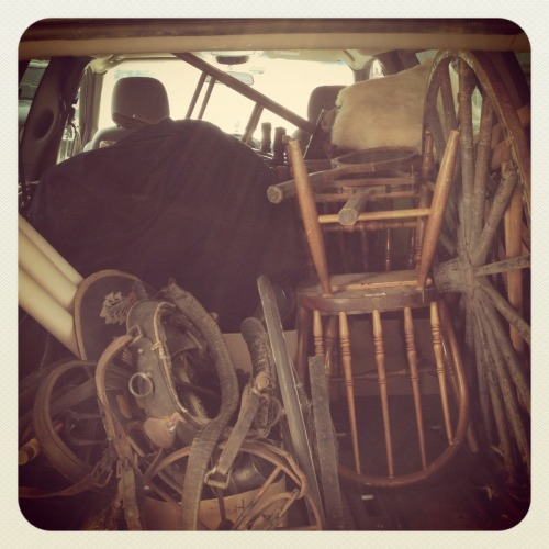 inthepropshop:  What the back of a freelance prop-er's minivan looks like on any given day….  ♥