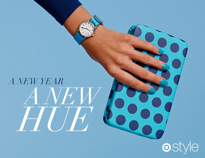 A New Year, A New Hue Happy New Year everyone! Here at Target Style we're beating the winter blues with a burst of bright, bold color. It's 2013: the future is bright. own it now: shirt. watch. shop clutch in store.