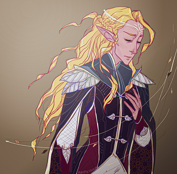 A sad ThirdAge!Glorfindel in vaguely Imladris colours :thumbs_up: (My Patrons of all tiers already saw the fullsize drawing a few days ago! patreon(.)com/magpiecrown)