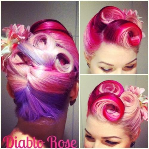 directionshairdye victoryrolls lilachair rockabilly raspberryripple vintagehair updo pinkhair directions pincurls swirl pastelhair pinup