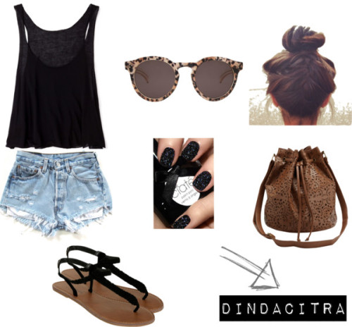 Untitled #6 by dindacitraa featuring t-strap shoesForever 21  tank top / Highwaisted denim shorts / Wet Seal t-strap shoes / Leather duffel bag, $15 / Illesteva