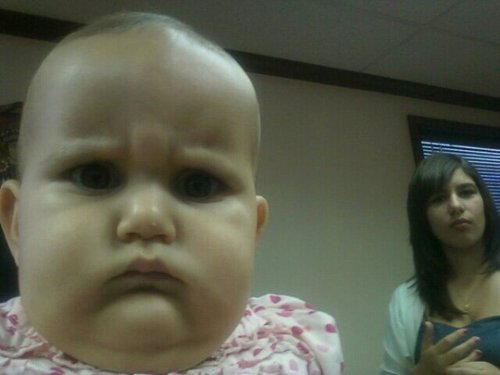 Grumpy Baby Disapproves of Your Face Goo goo ga get the hell out of here.
